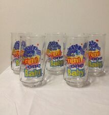 Vintage 5 DIET PEPSI COLA SODA GLASSES Uh-Huh YOU GOT THE RIGHT ONE BABY Logo