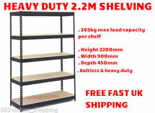 2.2m INDUSTRIAL HEAVY DUTY BOLTLESS METAL SHELVING RACKING WAREHOUSE & HAMMER