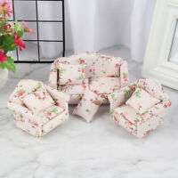 3Pcs 1:12 Dollhouse Miniature Wooden Sofa Cushions Kit Dollhouse Room Furnit Jf