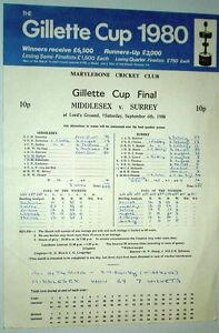 MIDDLESEX SURREY GILLETTE CUP FINAL CRICKET SCORECARD LORD 1980