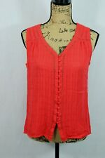 Stitch Fix SKIES ARE BLUE Sleeveless Blouse Size Small Mesh Lace Panels Buttons