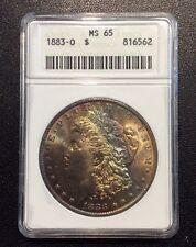 1883-O $1 Morgan Silver Dollar ANACS MS65 Rainbow Toned