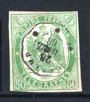 "FRANCE TELEGRAPH STAMP YVERT 2 "" 50c GREEN IMPERF 1868 "" USED VF MUST SEE P926"