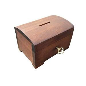 WOODEN JEWELLERY SMALL CHEST - MONEYBOX CLOSED FOR KEY, IN BROWN COLOR