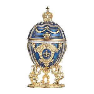 Fabergé Ei / Schmuckkästchen mit Löwen & russischen Kaiserkrone 7,5 cm blau