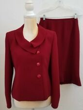 SUIT STUDIO WOMENS SIZE 4P RED COLLARED PLEATED HEM SKIRT SUIT CAREER