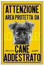 AFFENPINSCHER AREA PROTETTA TARGA ATTENTI AL CANE CARTELLO PVC GIALLO