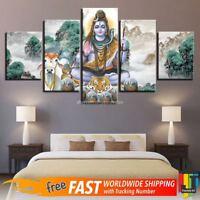 Hindu God Lord Shiva & Animals Scenery 5 Pcs Canvas Wall Art HD Print Home Decor