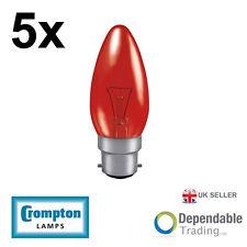 5 x Crompton 40w BC - B22 Fireglow Bougie Ampoule Lumière 35mm (FIRCAN40BC)