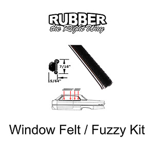 1940 - 1960 Chevy Window Felt / Sweep / Beltline Kit - 4 pc.