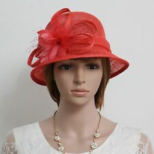 New Woman Church Kentucky Derby Wedding Cocktail  Sinamay Dress Hat 244red