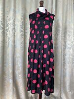 Masai Tunic Wrap Pink Black Dress Cowl Size S Small Polka Spots Lagenlook