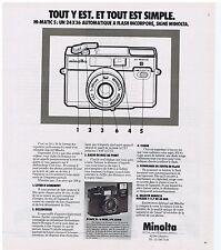 PUBLICITE ADVERTISING 114 1978 MINOLTA HI-MATIC S un 24 x 36 automatique