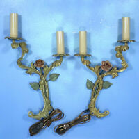 2 Antique German Cast Iron Enamel Painted WALL SCONCES Roses US Electrical c1920