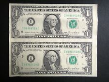 More details for united states usa $1 uncut one dollar pair notes banknote 1985 washington
