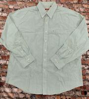 IZOD Men's Size XL Green Striped Button Down Long Sleeve Shirt #4C52