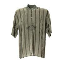 Vintage Herren Hemd Größe M Kurze Ärmel Shirt Retro Motiv Italy Grau