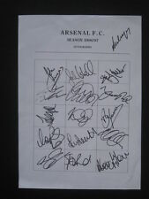 ARSENAL FC  -1996-97 - Original signatures of players on A4 sheet