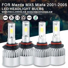 4pc LED Headlight Bulbs 9005 9006 High Low Beam For Mazda MX5 Miata 2001-2005