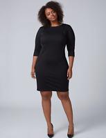 Lane Bryant Sheath Dress Womens Plus 24 Faux Leather Piping Black 3x