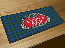 Personalised red & grey beer label Tartan Beer label Bar runner counter mat