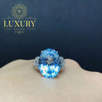 Natural Sky Blue Topaz 10 Carat Gemstone 925 Sterling Silver Romantic Rings