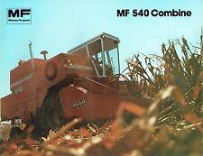 MASSEY FERGUSON MF 540 MF540 COMBINE COLOR SALES BROCHURE CATALOG PAMPHLET