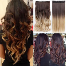 AU Real Thick Clip In Hair Extensions Long Curly 3/4 Full Head Hair Extentions D