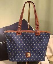 EUC Dooney Bourke Gretta DB Logo & Leather Leisure Shopper Zip Tote Bag BLUE