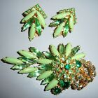 VTG JULIANA GREEN MILK GLASS AB RHINESTONE BROOCH PIN EARRING SET