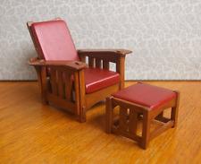 Dollhouse Miniature Gustav Stickley Style Drop Arm Morris Chair Set