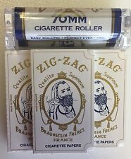 Zig Zag 70mm Roller + 5 Cigarette Rolling Papers Combo Free Shipping