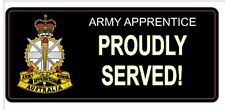 ARMY APPRENTICE PROUDLY SERVED LAMINATED VINYL STICKER 80 X 180MM