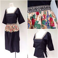 Vintage 1930s Black Silk Dutch Folk Volendam Costume Dress Set XS Blouse & Apron