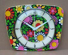 Pendule vintage FLEURS MULTICOLORES ancien horloge pendulette MARCHE FLOWERS #1