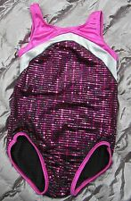 BALERA Dancewear YOUTH CHILD MEDIUM Pink Silver Foil Sequins LEOTARD Gymnastics