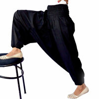 Indian Gypsy Yoga Harem Pants Trousers Hippie Cotton Baggy Boho Black