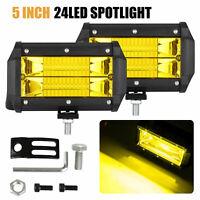 """2x 5"""" 72W LED Car Work Light Bar Spot Beam Fog/Driving Lamp Amber White Offroad"""