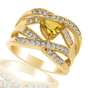 1.60 Ct Trillion Cut Citrine & Zircon 18K Yellow Gold Over Engagement Band Ring
