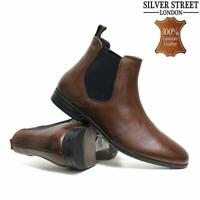 MENS LEATHER CHELSEA BOOTS NEW DEALER ANKLE SMART CASUAL FORMAL DESERT WORK SHOE
