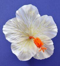 """4.5"""" Cream White Single Hibiscus Silk Flower Hair Clip Pinup Luau Wedding Cruise"""