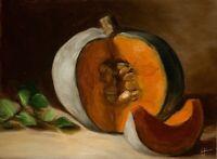Original Oil Painting Realism Small Painting Still Life Signed  Pumpkin