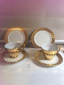 Vintage Pair Gold 3 pc Tea Cup Saucer & Plate Set Classic Fine China Australia