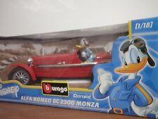 Auto Vintage Alfa Romeo 8c 2300 Monza Burago 1:18 Paperino Disney Collection
