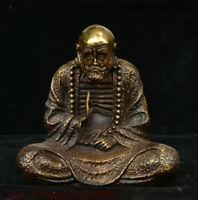 Chinese Buddhism Temple Bronze Gilt Arhat Damo Bodhidharma Dharma Buddha Statue