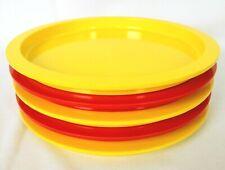 Vintage Dansk Stackable Plates Plastic Mid Century Orange Yellow Marked GC Set 5