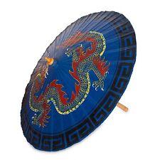 Saa Paper Parasol Handcrafted 'Blue Dragon' NOVICA Thailand
