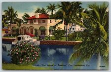 "A Mansion in ""The Venice of America"" Fort Lauderdale, Florida Linen Postcard"