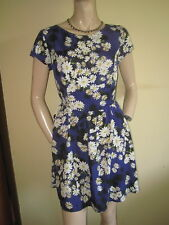 New Look ~ Blue Floral Print Silky Knee Length Skater Dress Occasion ~  Size 12