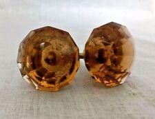 Vintage Door / Cabinet Knobs Pair Puller Antique Style Crystal Cut Amber Nobs